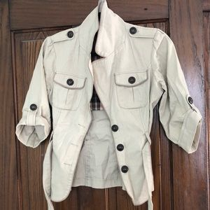Maurice's Tan Short Sleeve Jacket with Buttons
